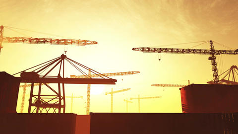4K Huge Construction Cranes in Industrial Zone in Sunset Sunrise 3D Animation 2  Animation