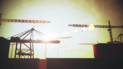 4K Huge Construction Cranes in Industrial Zone in Sunset Sunrise 3D Animation 3  Animation