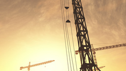 4K Huge Construction Cranes in Industrial Zone in Sunset Sunrise 3D Animation 7  Animation