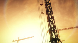 4K Huge Construction Cranes in Industrial Zone in Sunset Sunrise 3D Animation 8  Animation