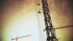 4K Huge Construction Cranes in Industrial Zone in Sunset Sunrise 3D Animation 9  Animation
