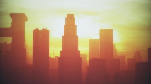 4K Huge Smoggy Metropolis in the Sunset Sunrise 3D Animation 3 stylized Animation