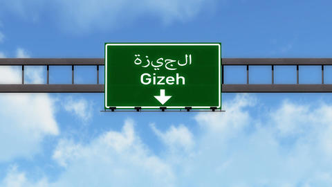 4K Passing Gizeh Egypt Highway Road Sign with Matte 2 stylized Animation