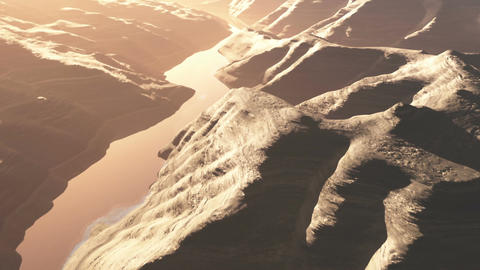 Aerial Shot Of A Rocky Canyon And A Lake 3D Animation 1 Flat Long Version stock footage