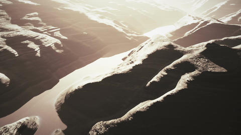Aerial Shot of a Rocky Canyon and a Lake 3D Animation 10 stylized Animation