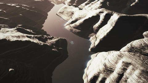 Aerial Shot of a Rocky Canyon and a Lake 3D Animation 11 stylized Animation