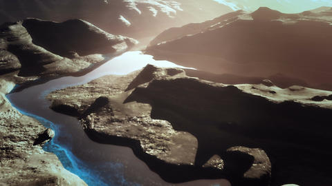 Aerial Shot of a Rocky Canyon and a Lake 3D Animation 13 stylized Animation
