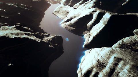 Aerial Shot of a Rocky Canyon and a Lake 3D Animation 15 stylized Animation