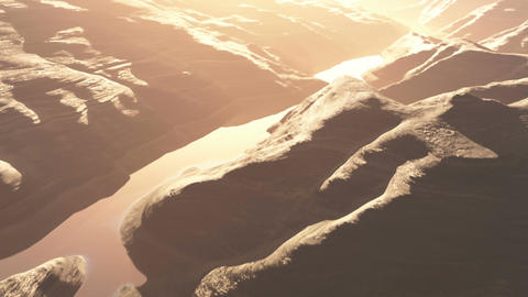 Aerial Shot of a Rocky Canyon and a Lake 3D Animation 2 flat Animation