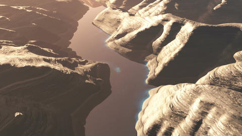 Aerial Shot of a Rocky Canyon and a Lake 3D Animation 3 flat Animation