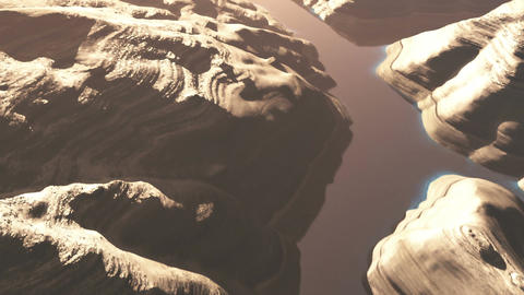 Aerial Shot of a Rocky Canyon and a Lake 3D Animation 4 flat Animation