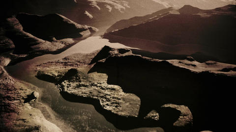 Aerial Shot of a Rocky Canyon and a Lake 3D Animation Vintage 1 Animation