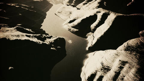 Aerial Shot of a Rocky Canyon and a Lake 3D Animation Vintage 3 Animation