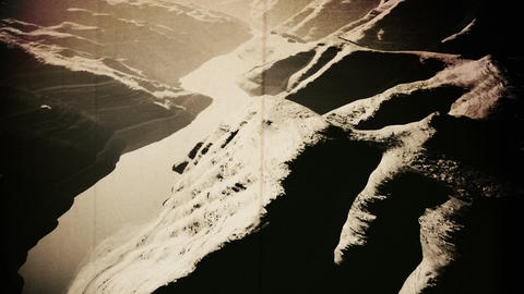 Aerial Shot of a Rocky Canyon and a Lake 3D Animation Vintage long version Animation