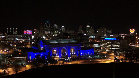 Nighttime High Angle View Union Station Downtown City Skyline Kansas City Footage