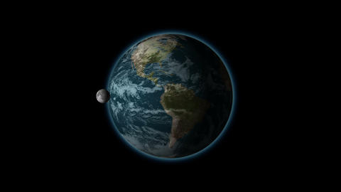 The rotation of the moon in its orbit of the earth, black BG, alpha Animation