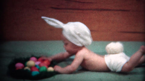 (8mm Film) 1949 Baby Dresses as Bunny For Easter Footage