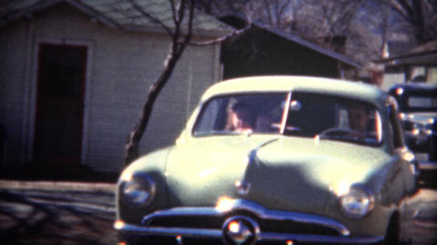 (8mm Film) 1949 Shoebox Ford Car Baby Blue Live Action