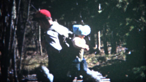 (8mm Film) 1952 Man Hiking With Baby Backpack Live Action