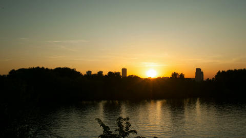 Sunset On River stock footage