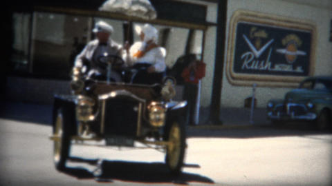 (8mm Film) 1905 Cadilac From 50s Car Show stock footage