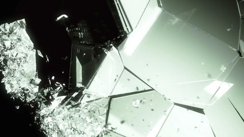 Cracked and shattered Glass slow motion. Alpha matte Animation