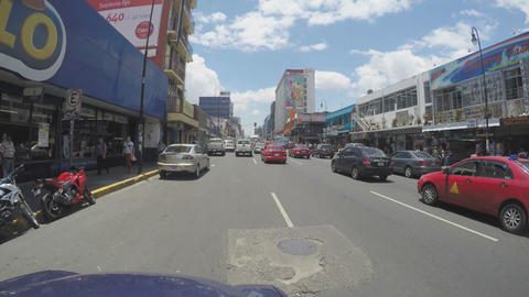 SAN JOSE, COSTA RICA - MAY 6, 2015: Traffic Jam On Main Street In San Jose, Cost stock footage