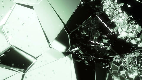 Glass smashing and breaking slow motion. Alpha matte Animation