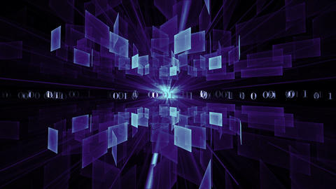 Blue Cubes In Rotation, Matrix, Internet Concept stock footage
