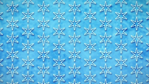 4K White Snowflakes on a Blue Background in Perpetual Motion Animation