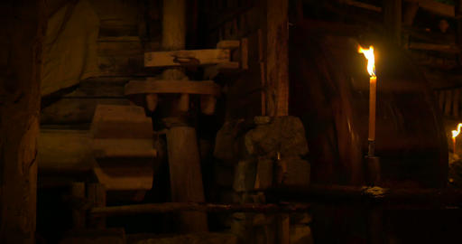 Ancient Wooden Mill Machinery 02 stock footage