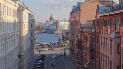 Vasilyevsky Island street day zoom out timelapse 4K Footage