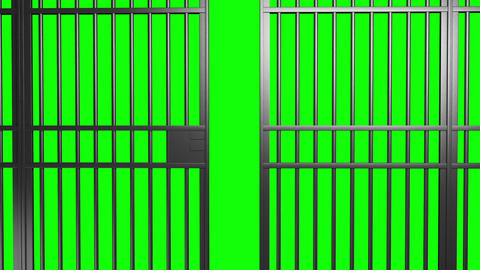 Open And Close Jail Bars Door With Alpha Matte And Green Screen stock footage