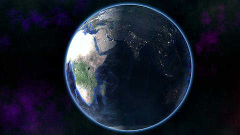Flying away from rotating Earth Animation