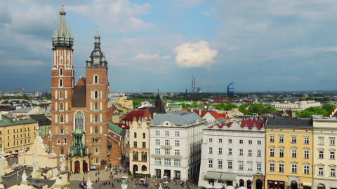 Market Square of Krakow. Aerial View. Timelapse Footage