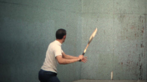 (8mm Vintage) 1971 Man Playing Tennis Against Wall Footage