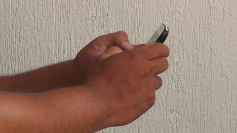 Male Hands Texting Or Typing On A Touchscreen Stphone. Man Presses Themar Phone stock footage