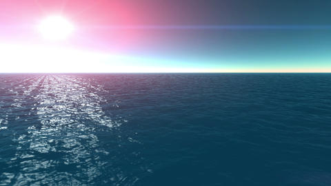 flying on the sea sun rise Animation