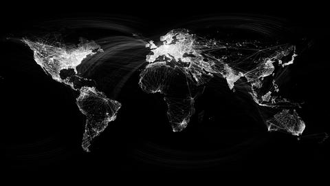 Network Lines Lighting Up World Map 4K. Black and White Version. Very detailed.  Animation