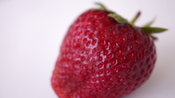Fresh Strawberry In Rotation, Isolated, White Background Footage