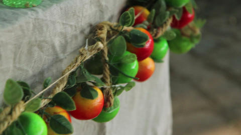 Wreath with red and green apples Footage