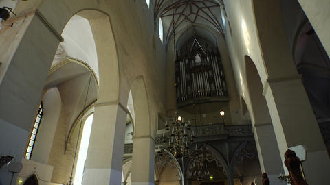 Interiors Lutheran church. Old Tallinn. Estonia. 4K Footage