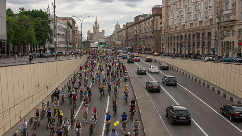 Cyclists on the Moscow cycle parade Live Action