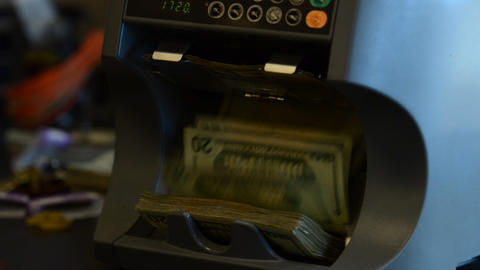 Money Counter Slow Zoom Out stock footage
