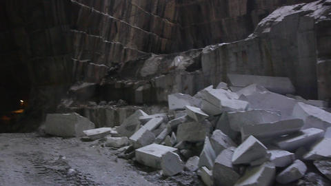 Floating through interior of marble mine Footage
