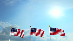 USA US 3 American Flags Waving Against Blue Sky CG Animation