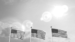 USA US 3 American Flags Waving Against Blue Sky old cine film celluloid sepia Animation
