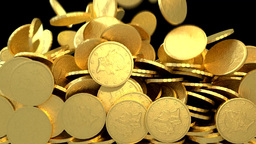 Coins Gold Fill Screen Transition Golden Money Cash Pile stock footage
