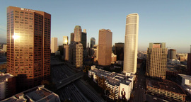 Flying Over Downtown Los Angeles, A Wide View Of The Landscape, Skyscrapers Buil stock footage
