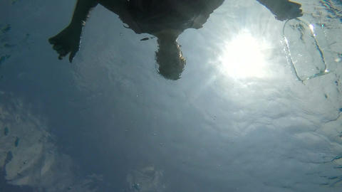 POV From Underwater Looking Up At A Male Figure stock footage